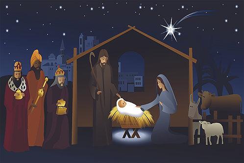Nativity Nightime Illustration