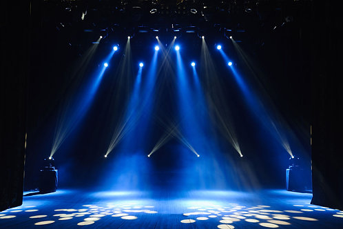 Stage blue with spotlights