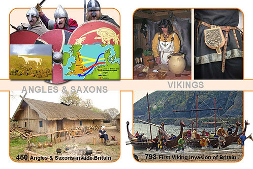 Anglo-Saxons & Vikings A4 Timeline Plate