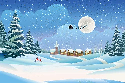 Santa over roofs 3 backdrop