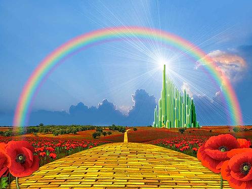 Yellow brick road with rainbow