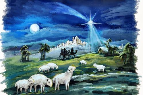 Childrens Nativity Scene 1 Backdrop Non-Glare