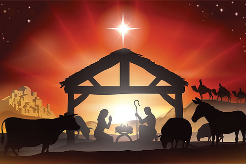Nativity Illustration 2 Backdrop - large 175 x 96cm
