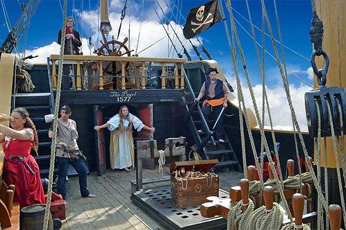 Pirate Ship End Deck with Pirates Bespoke Backdrop