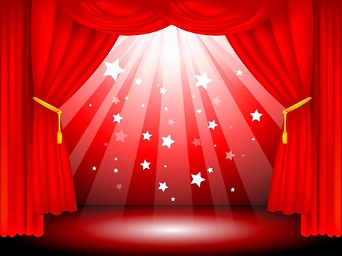 Red stage curtain and stars