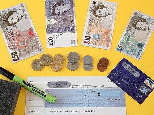 Fake banknotes & play coins set