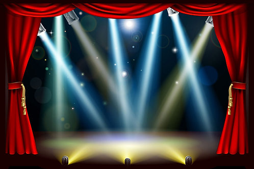 Stage, curtains and spotlights