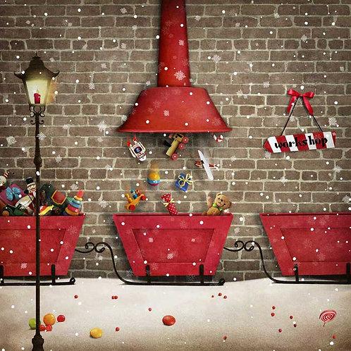Santas Workshop Workings backdrop