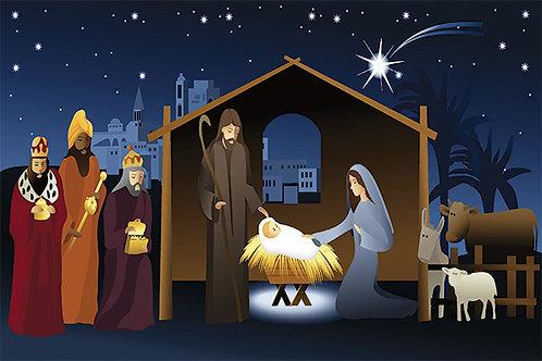 Nativity Illustration at Night