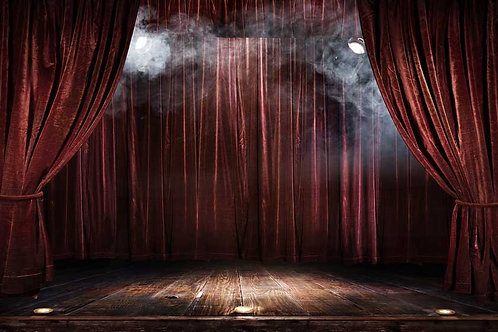 Stage, curtains and smoke