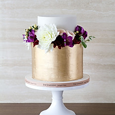 Brushed Gold with Fresh Floral Wreath Wedding Cake