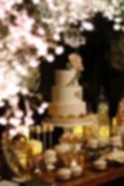 Fondant wedding cake, desset table, candy corner