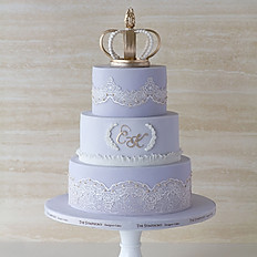 Gold Crown with Purple Lace Wedding  Cake