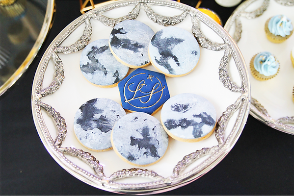 Constelltion cookies, fondant icing cookies, dessert table