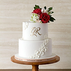 Burgundy Roses White Floral Lace Wedding Cake