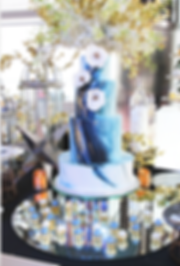 Wedding cakes,handpainted fondant wedding cakes, dessert table, blue wedding cake, candy corner, dessert table