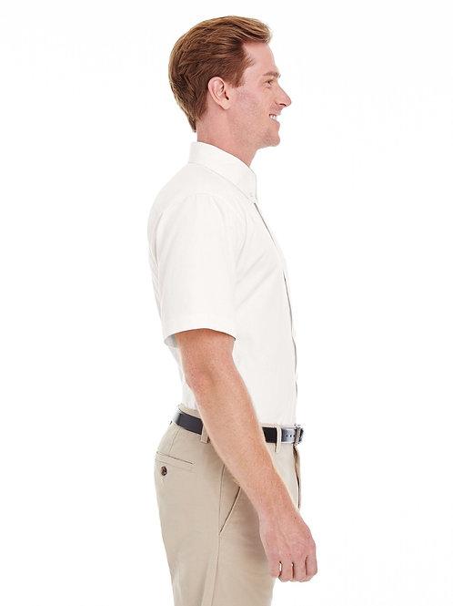 Harriton Men's Foundation 100% Cotton Short-Sleeve Twill Shirt with Teflon TM