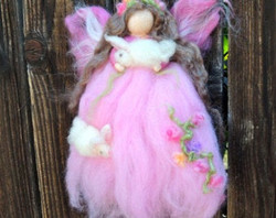 Ethereal Pink Garden Fairy with Bunnies.