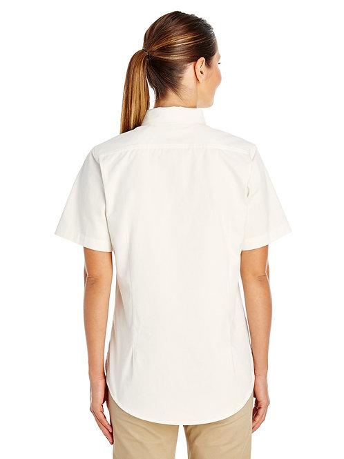 Harriton Ladies' Foundation 100% Cotton Short-Sleeve Twill Shirt with Teflon TM