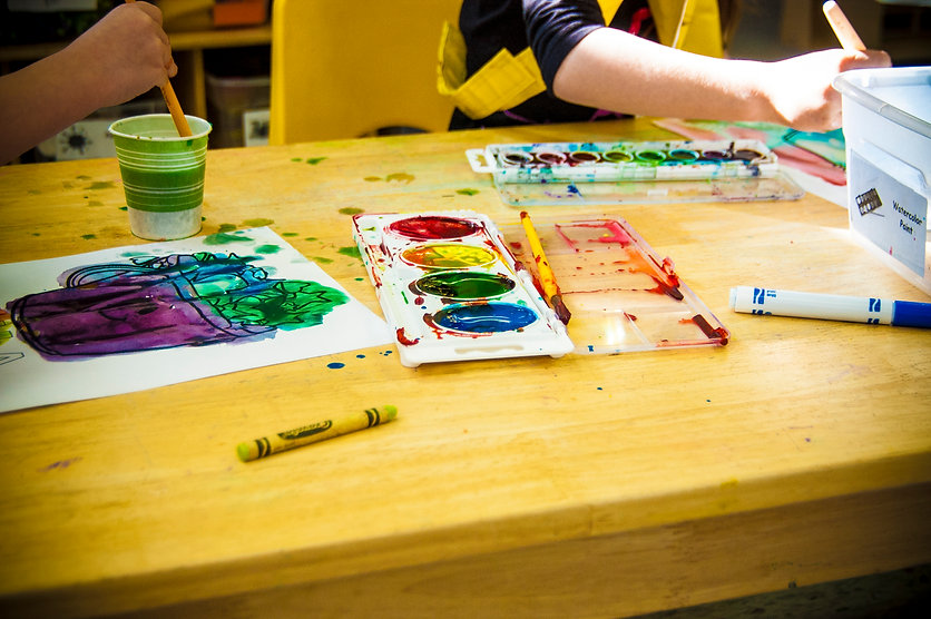 art class finger painting and crayons
