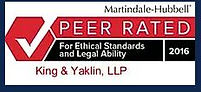 Martindale-Hubbell peer rated for ethical standards and legal ability 2016