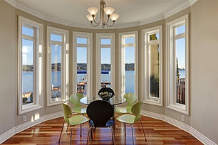 Table surrounded by windows