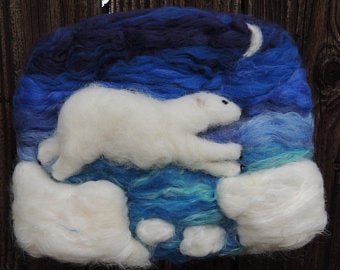 Wool Art - Polar Bear Under the Moon