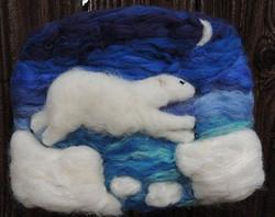 Wool Art - Polar Bear Under the Moon