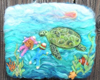 Wool Art - The Gracious Green Turtle