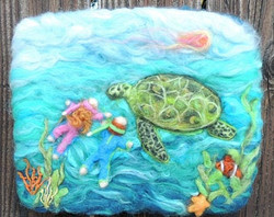 Wool Art - The Gracious Green Turtle