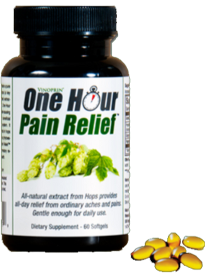 Vinoprin® One Hour Pain Relief All-Natural Pain Relief 1 bottle = 60 softgels