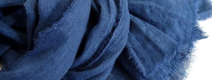 Solid Blue Cotton Silk or Linen Blends