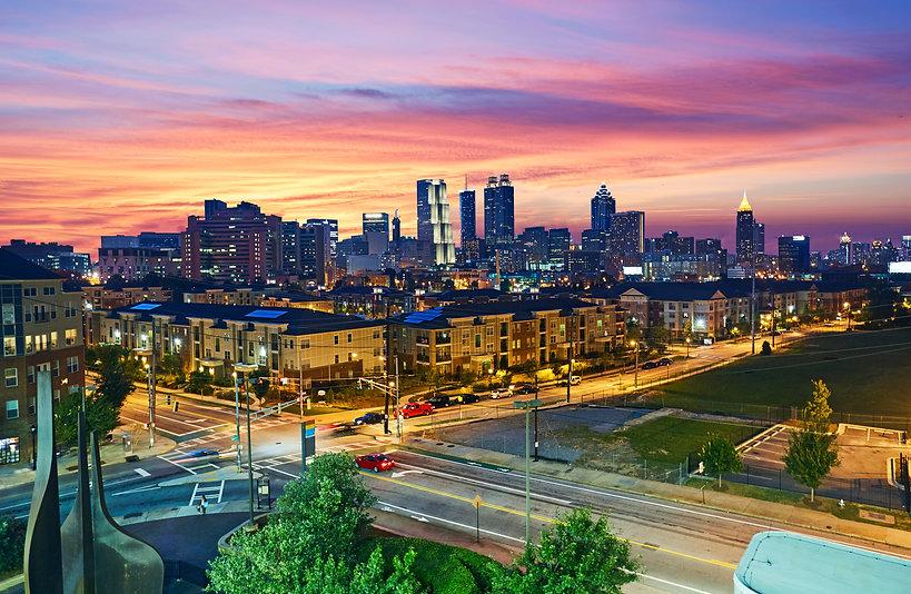 Aerial view of Atlanta, Georgia illumina