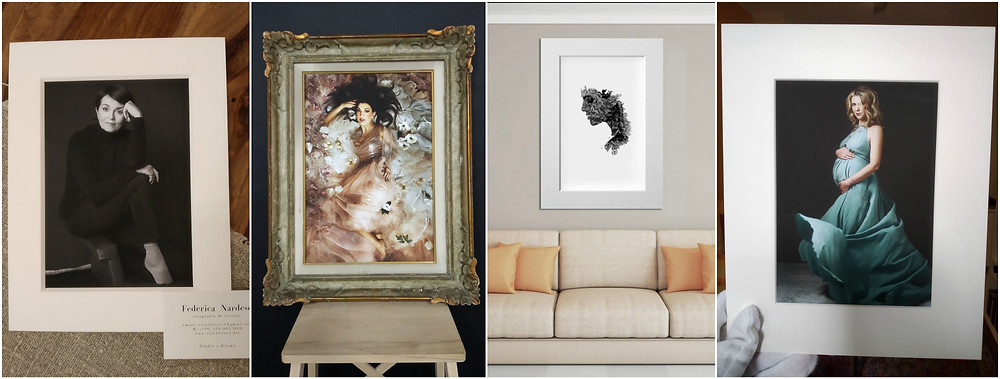 esempi di prodotti di fotoritratto come quadri, stampe singole da parete e ritratti in passepartout della fotografa di ritratto a milano Federica Nardese