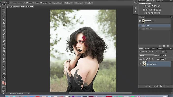 post produzione accelerata di un ritratto fotografico fineart con ragazza e farfalle