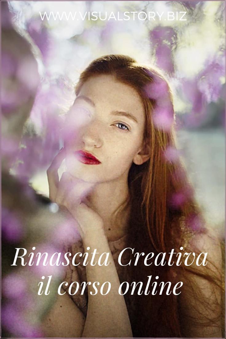 ritratto evocativo di ragazza tra i fiori con sguardo sognante e colori pastello della primavera per richiamare la rinascita creativa interiore