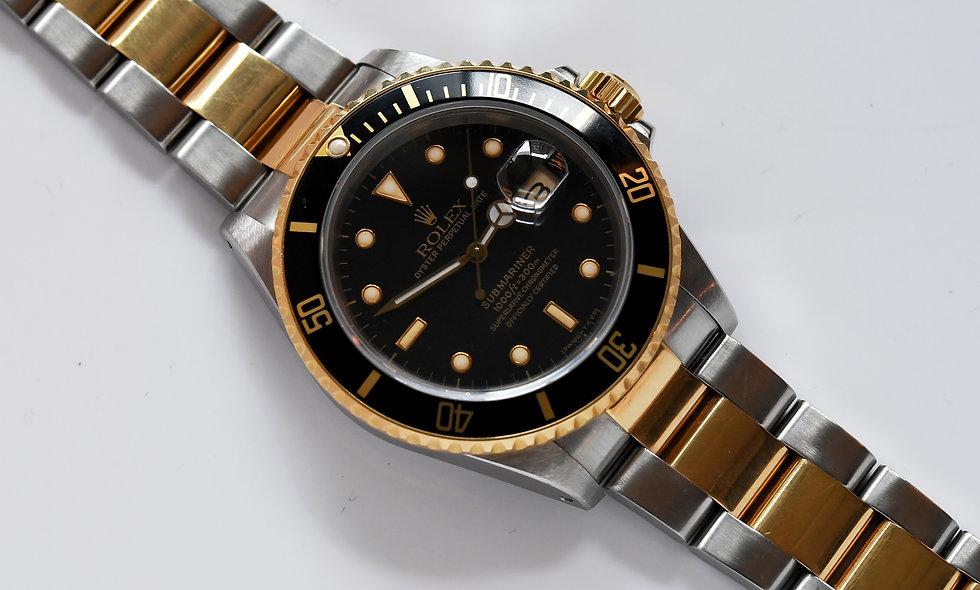 Rolex Submariner 16803 Two Tone Tritium Black Stardust Dial