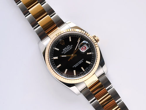 Rolex Datejust 116233 Black Dial Roulette Datewheel Box Papers