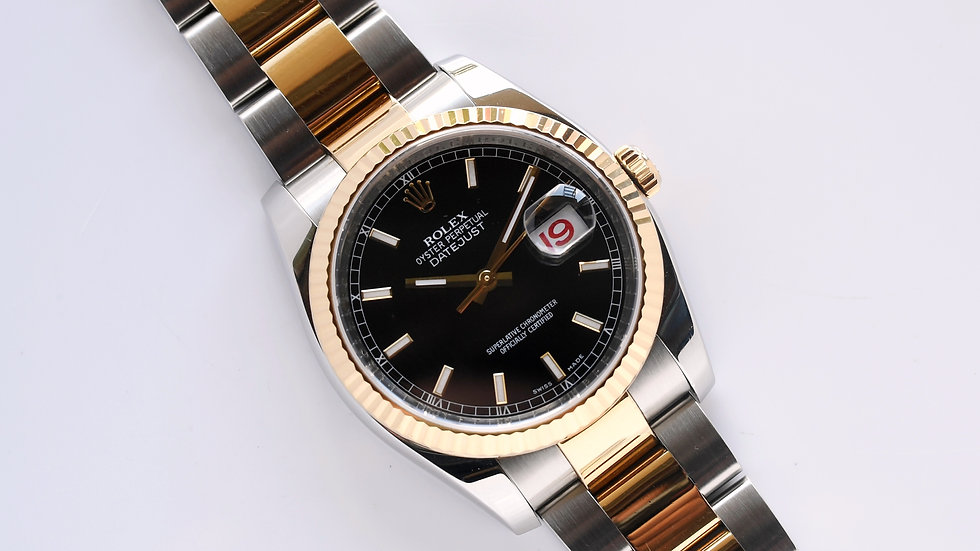 Rolex Datejust 116233 Black Dial Roulette Datewheel Box Papers