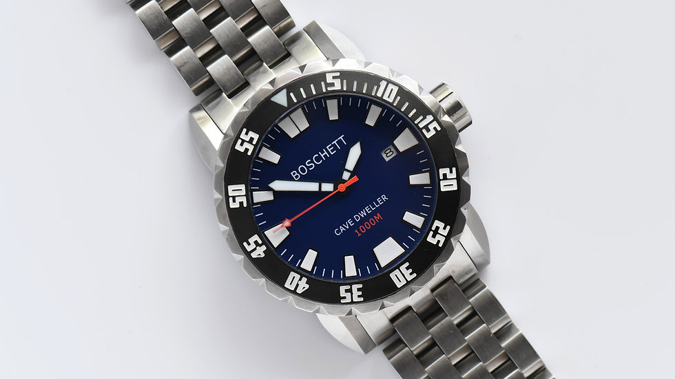 Boschett Men's Stainless Diver Cave Dweller 1000 Blue Dial Box Papers