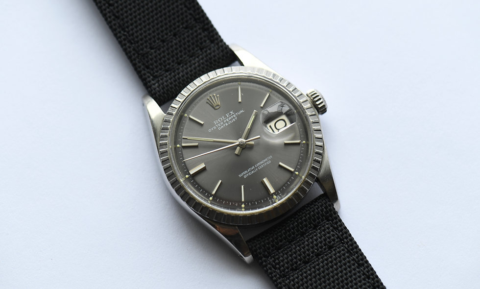 Rolex Datejust 1603 Engine Turned Slate Pie Pan Dial