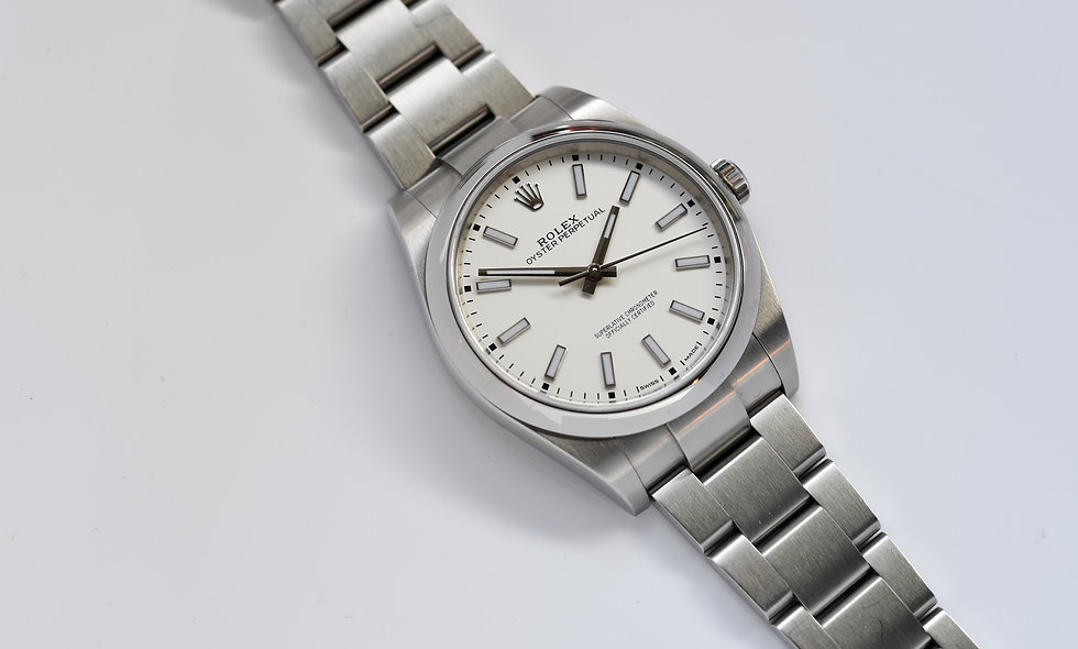 Rolex Oyster Perpetual White Dial 39mm 114300 2018 Box Papers