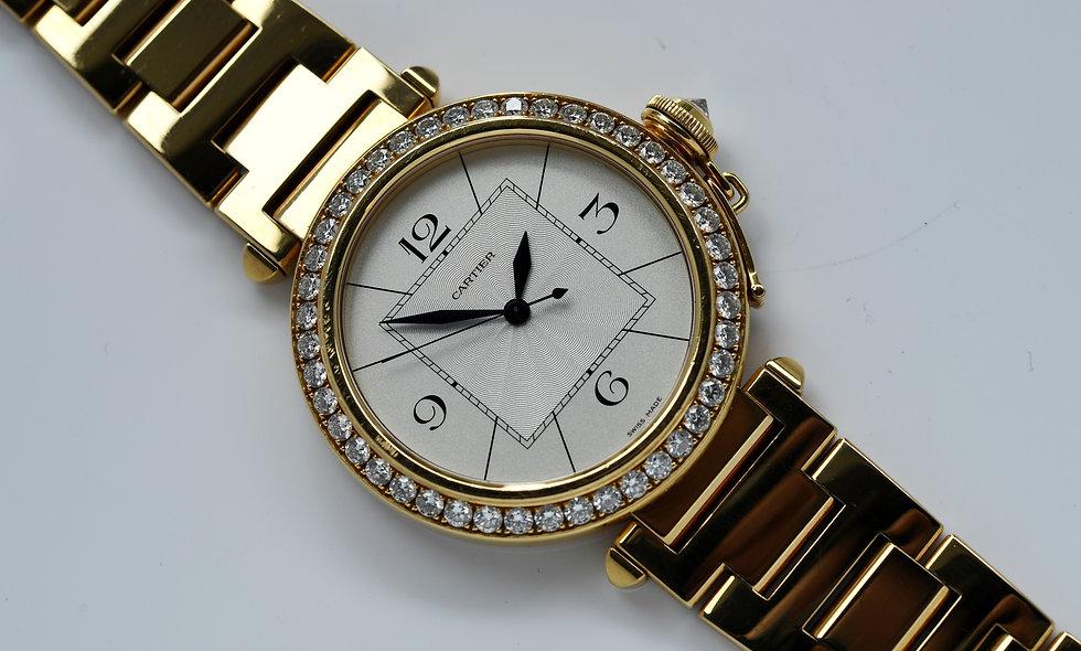 Cartier Pasha Automatic 42mm WJ120351 2726 18k Gold Factory Diamonds