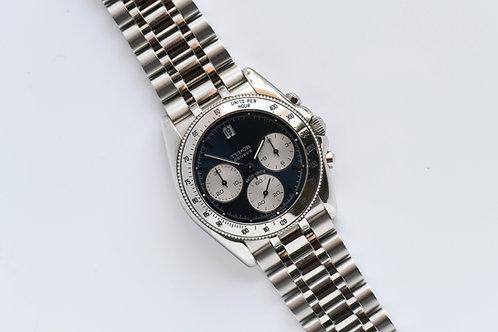 Tudor Mens's 36mm 15900 Monarch Chronograph Panda Blue Dial Brand New