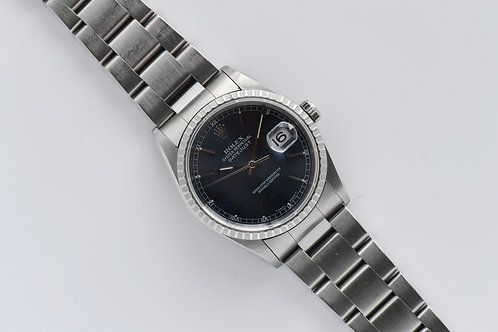 Rolex Datejust 16220 Engine Turned Bezel Blue Dial 1991 No Hole Oddity