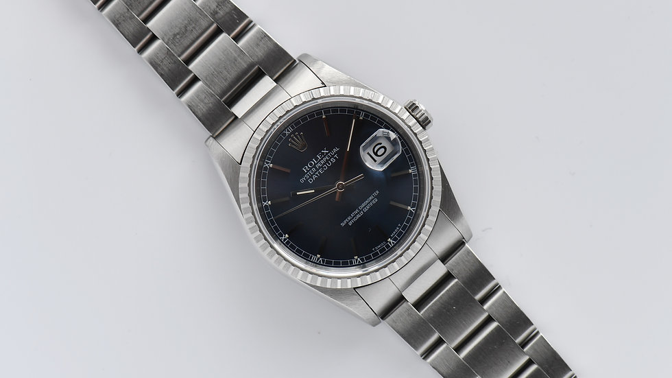 Rolex Datejust 16220 Engine Turned Bezel Blue Dial 1991 No Hole Oddity