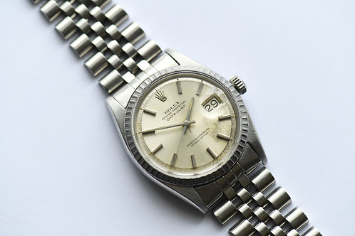 Rolex Datejust 1603 Engine Turned Bezel Silver Dial