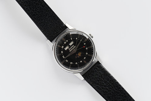 Zodiac Triple Date Automatic Moon Phase Black Gilt Dial