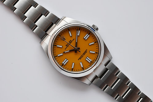 Rolex Oyster Perpetual Yellow Dial 124300 2020 Box Papers