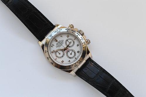 Rolex Daytona 116519 White Gold and Dial Crocodile Band
